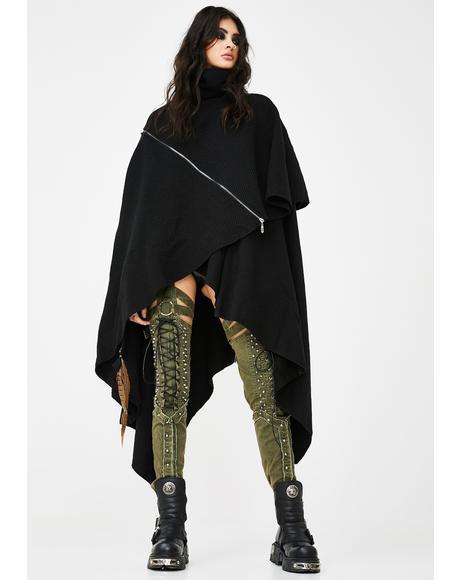 Ruffled Black Cloak
