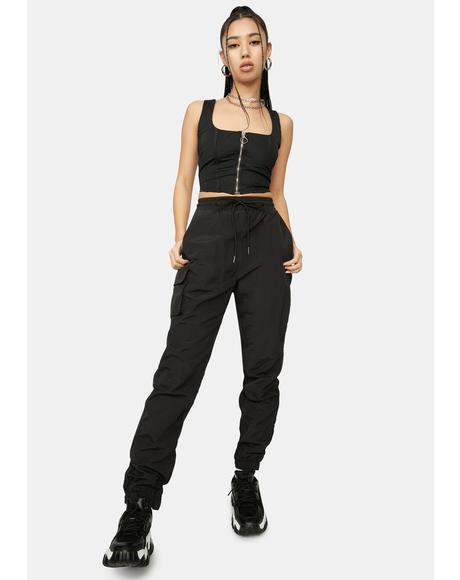 Noir Fashion Fantasy Corset & Joggers Set