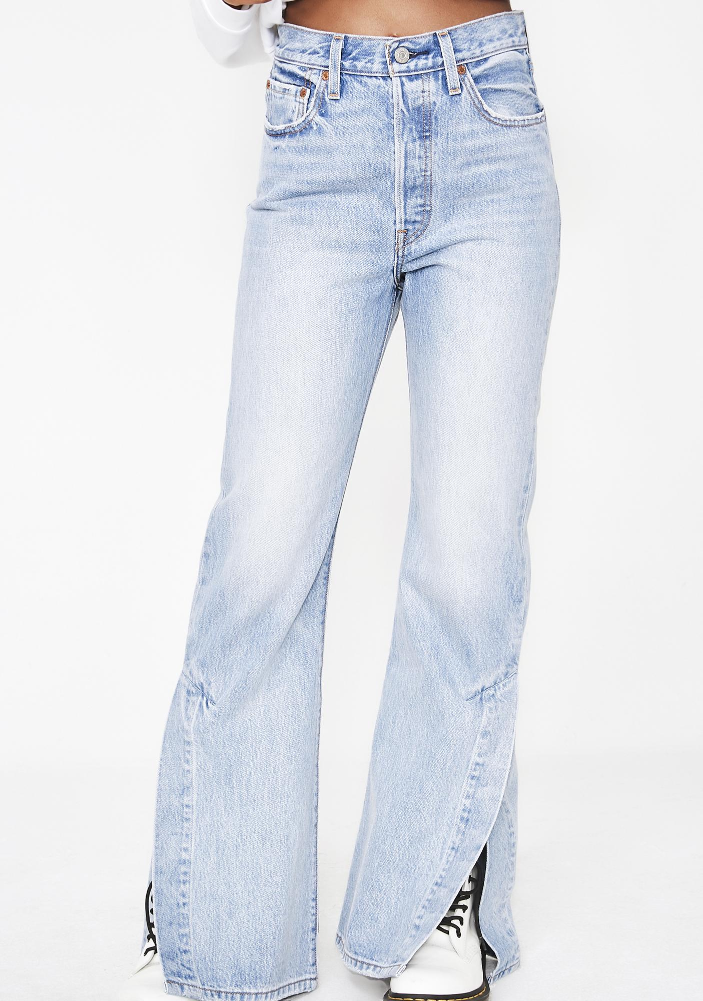 6d9d54ab1a3fe5 Levis Ribcage Split Flare Jeans | Dolls Kill