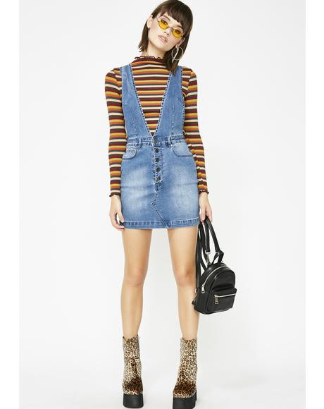 Drippin' Denim Overall Dress