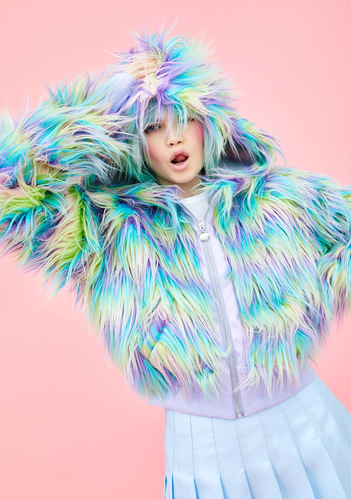 Sugar Thrillz Pixie Garden Faux Fur Jacket