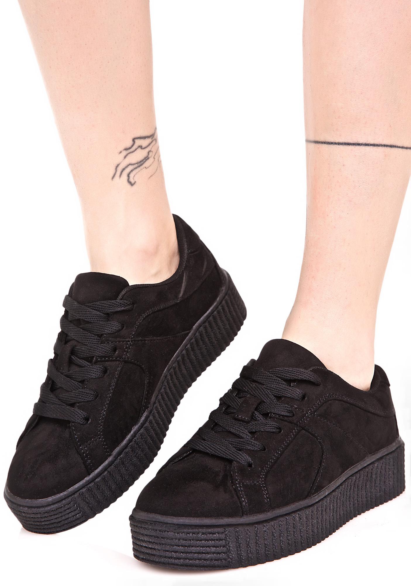 Black Vegan Suede Creeper Sneakers