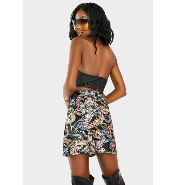 Twiin Snakes Alive Mini Slit Skirt