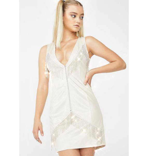 Elsie & Fred Cassie Rhinestone Fringe Mini Dress