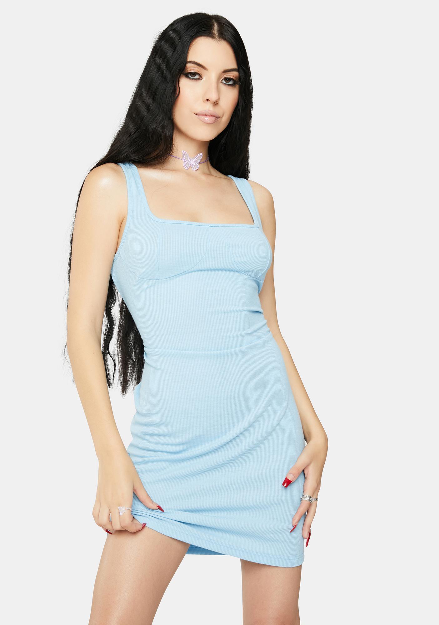Glamorous Light Blue Mini Tank Dress