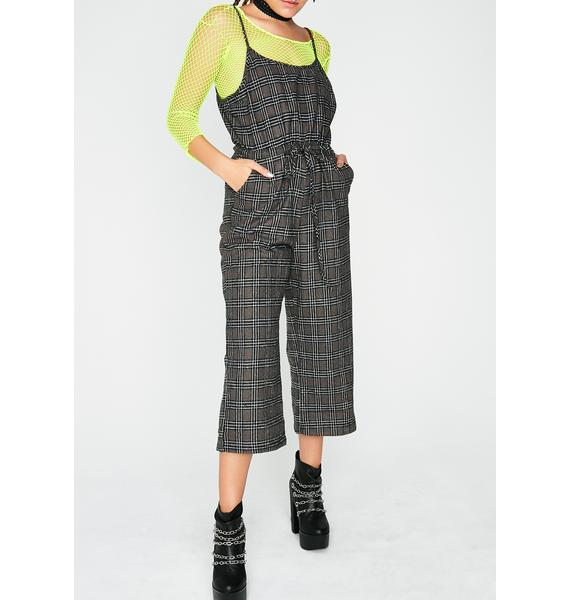 No Exams Plaid Jumpsuit