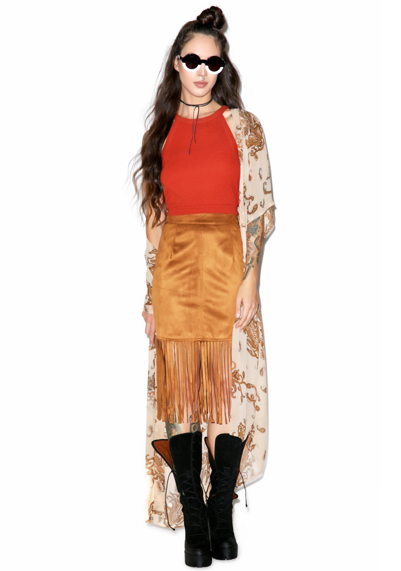 Glamorous Poca Hot Azz Fringe Skirt