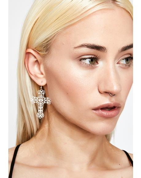 No Religion Cross Earrings