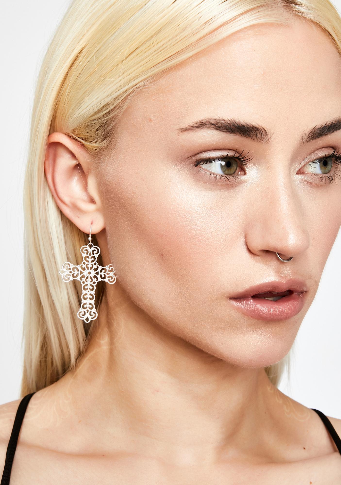 No Religion Cross Earrings