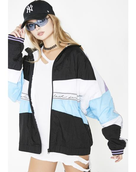 Sky Paneled Crinkle Poly Jacket