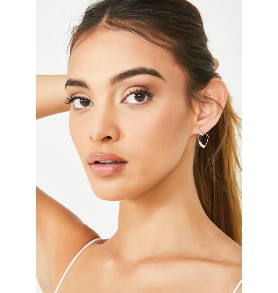 Heart Of Pearl Stud Earrings