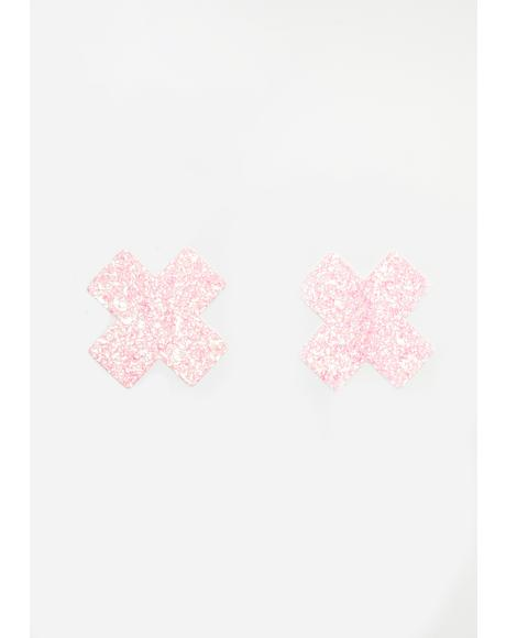 Pink Super Sparkle Cross Pasties