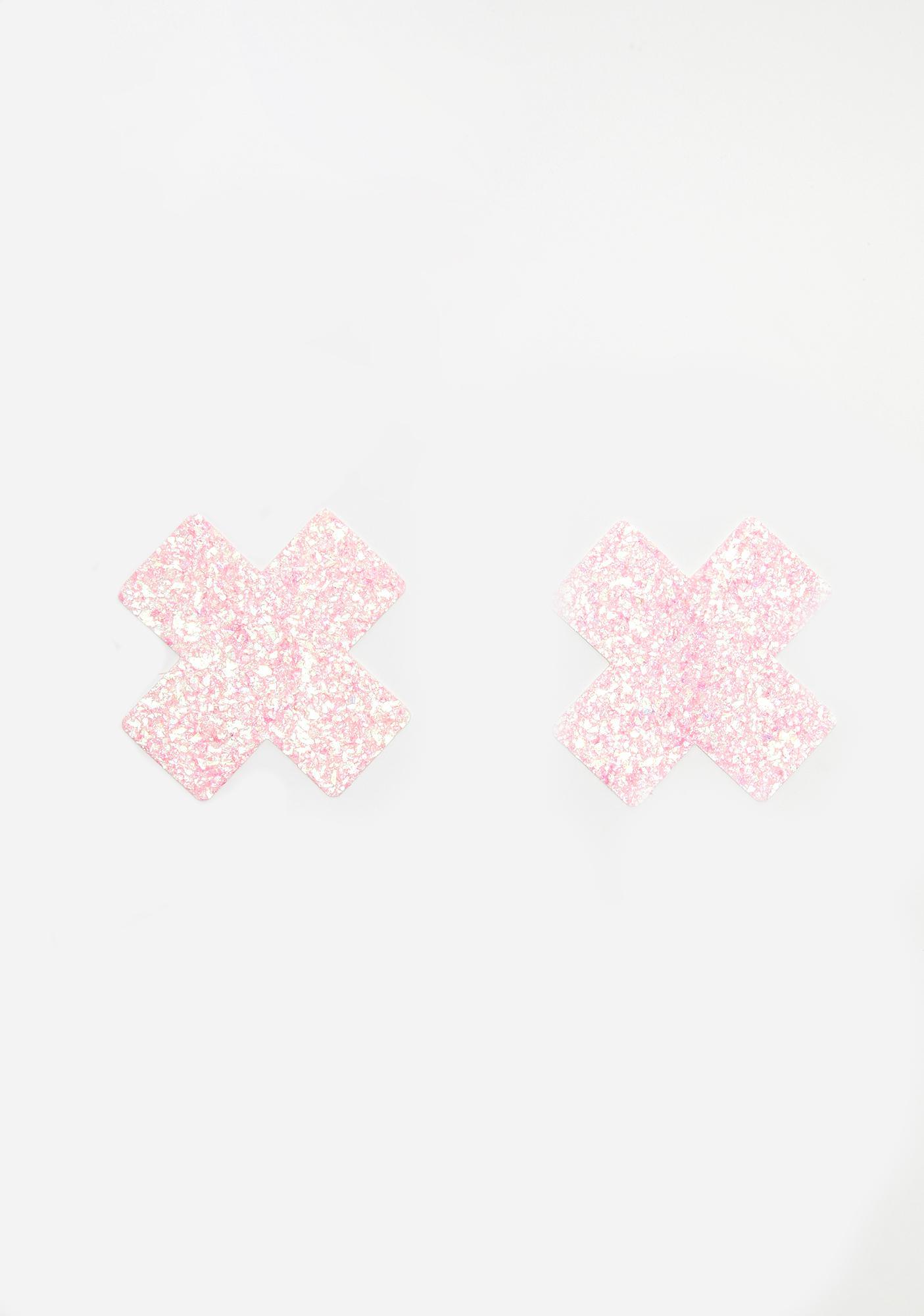 Neva Nude Pink Super Sparkle Cross Pasties