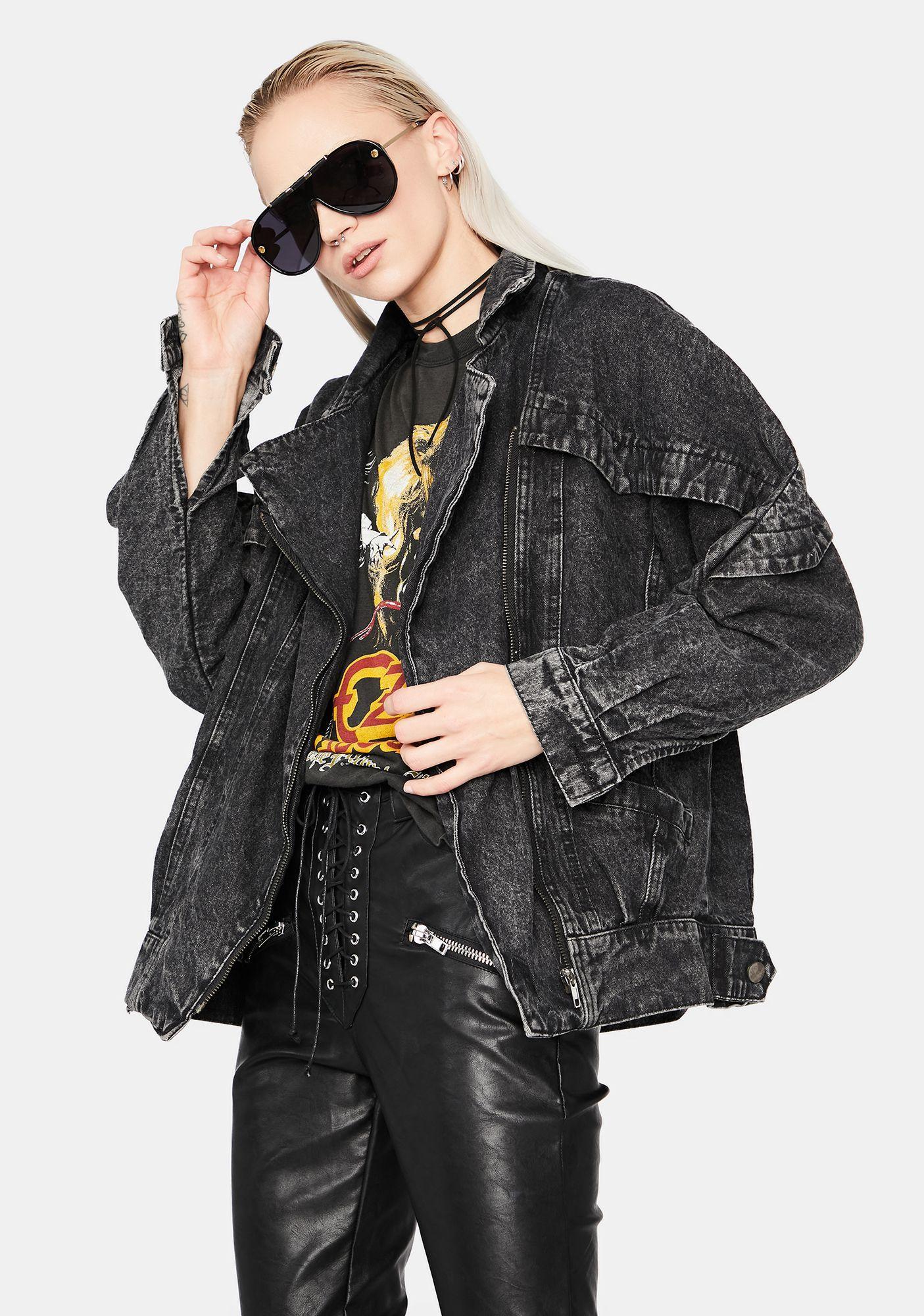 Too Cool Acid Wash Denim Moto Jacket