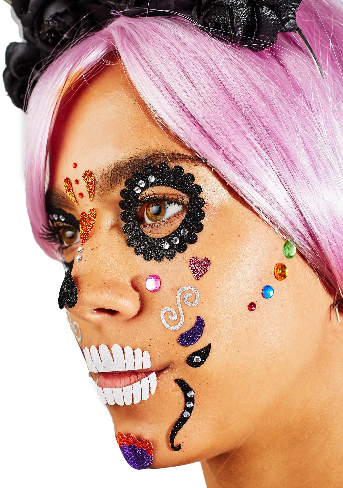 day of the dead face jewels dolls kill