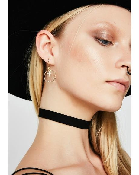 The Dina Cross Hoop Earrings