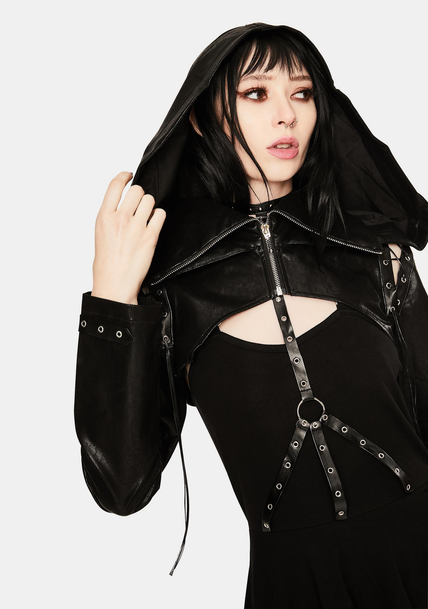 Dark In Love Cropped Hooded Jacket ZIp Up Mask