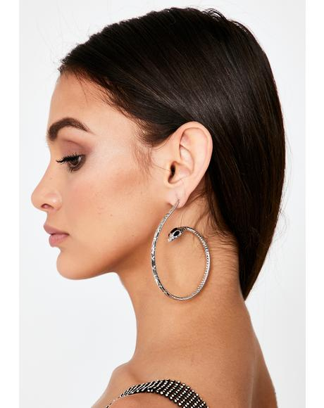 Chrome Snake Attack Hoop Earrings