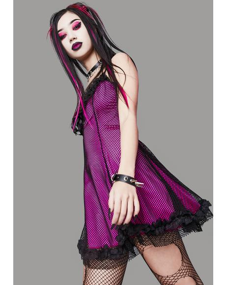 Magenta Faithfully Doomed Fishnet Dress