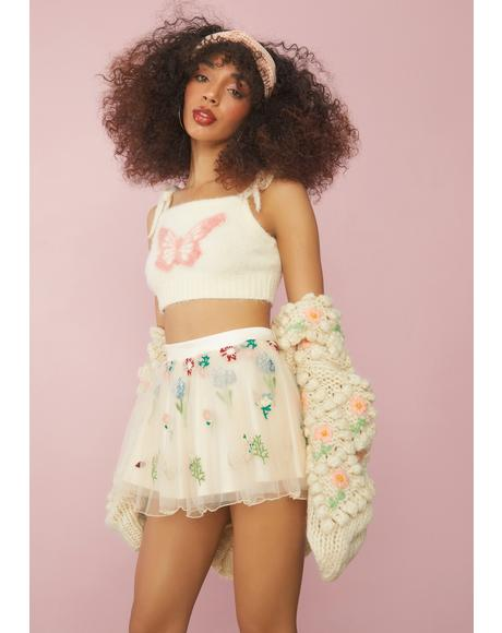 Enchanted Meadow Floral Tulle Skirt