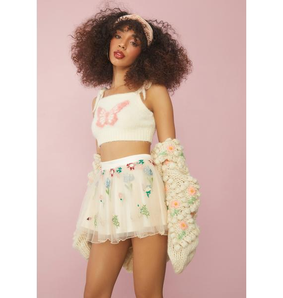 Sugar Thrillz Enchanted Meadow Floral Tulle Skirt