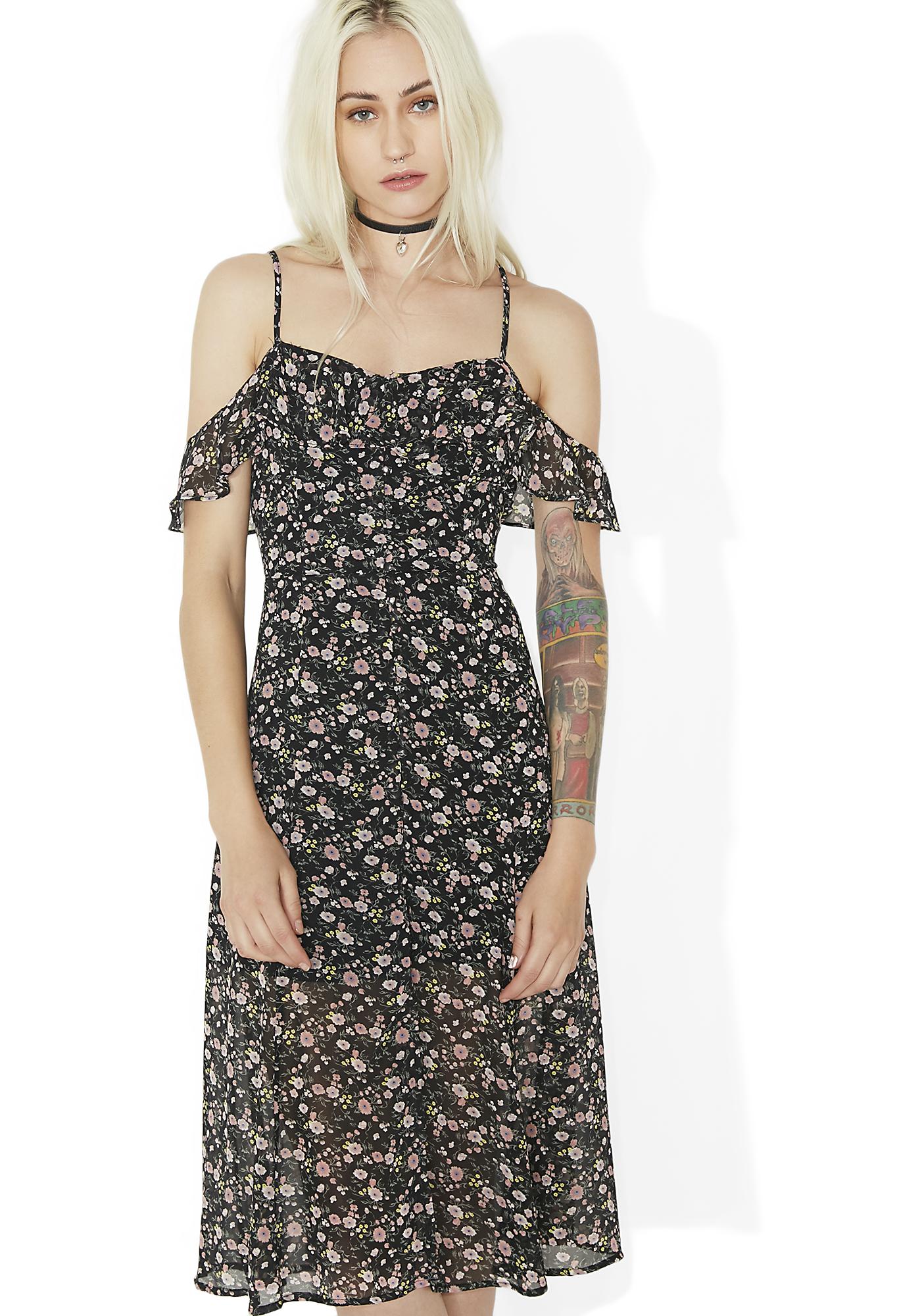 Floral Off Shoulder Midi Dress