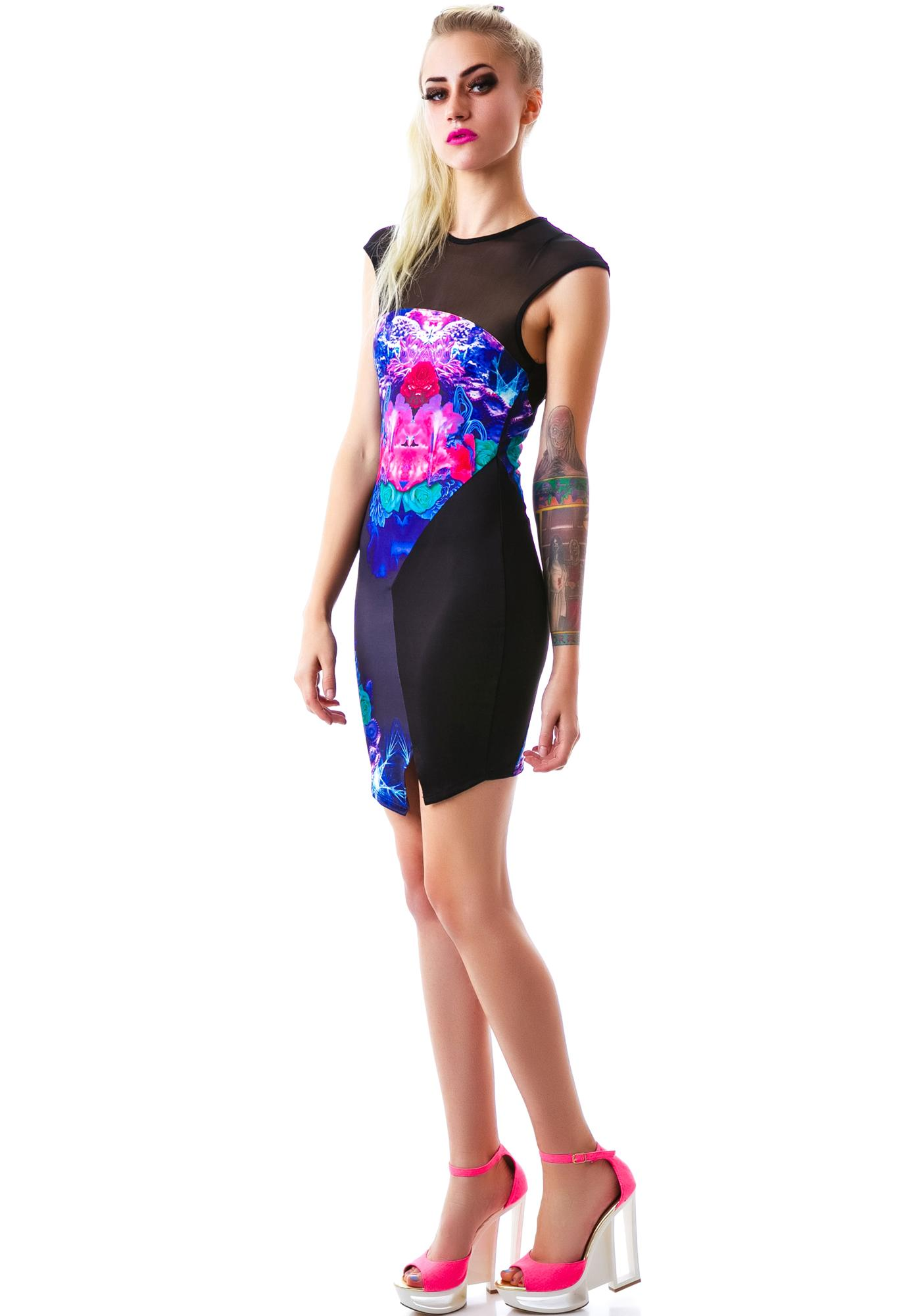 Tiger Mist Electric Trapeze Spliced Dress