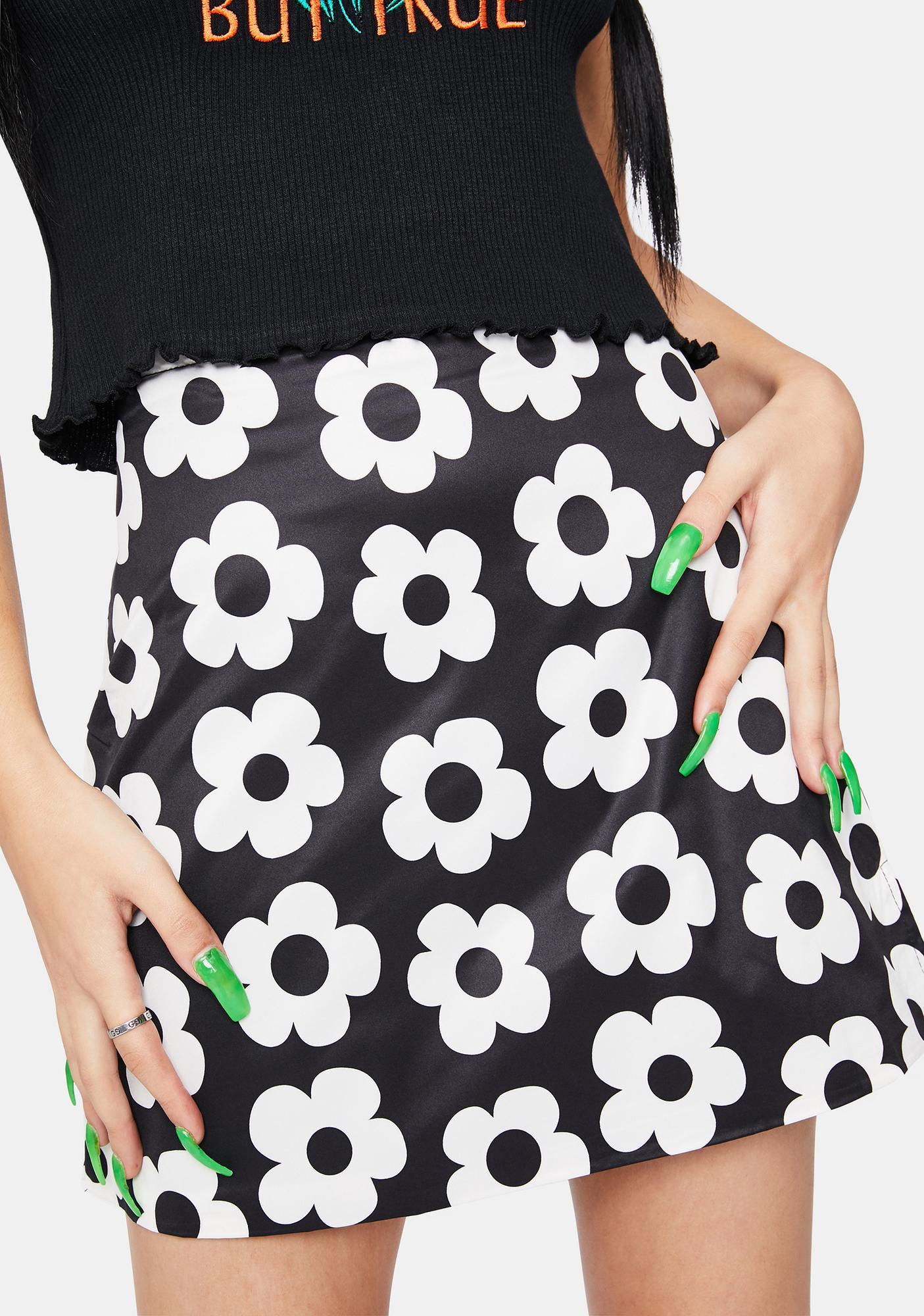 Alzang Black Flower Mini Skirt