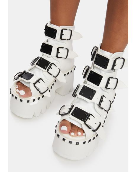 White Ashes Platform Bootie Sandals