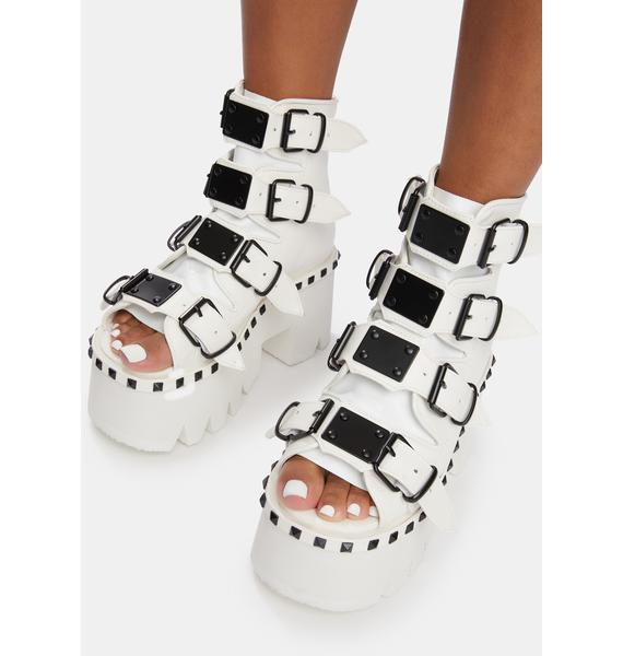Demonia White Ashes Platform Bootie Sandals