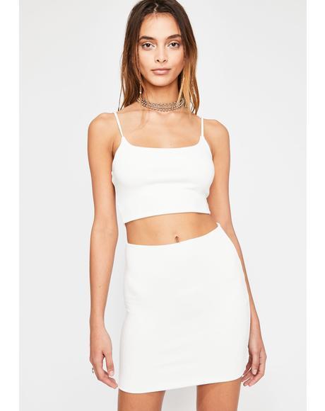 Ivory Beamin' Baddie Skirt Set