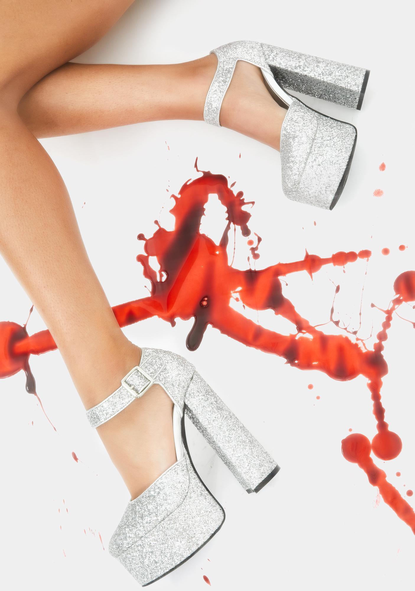Dolls Kill Shine By Night Glitter Heels