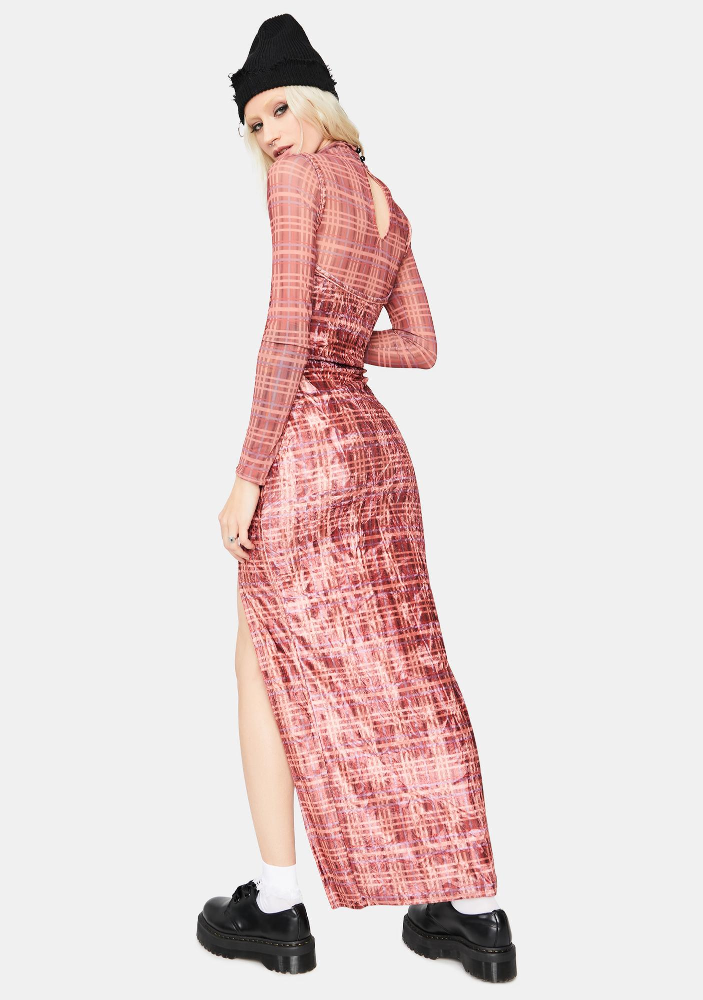 Alternative Delusions Plaid Maxi Dress Set
