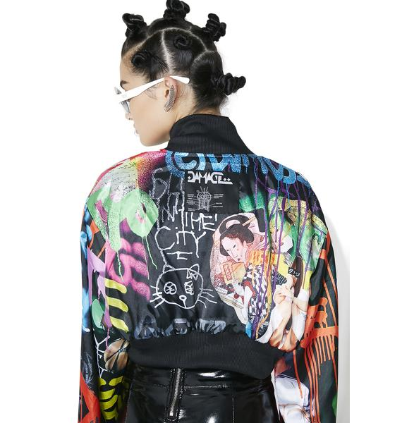 DAMAGE Tyo X Reversible Satin Crop Bomber