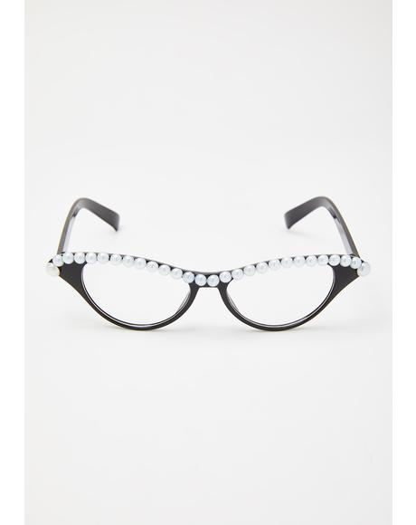 Pearly Gaze Cat-Eye Glasses