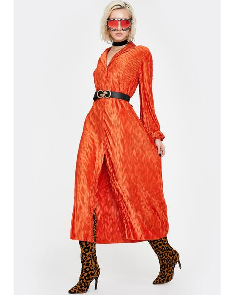 Rust Maxi Shirt Dress