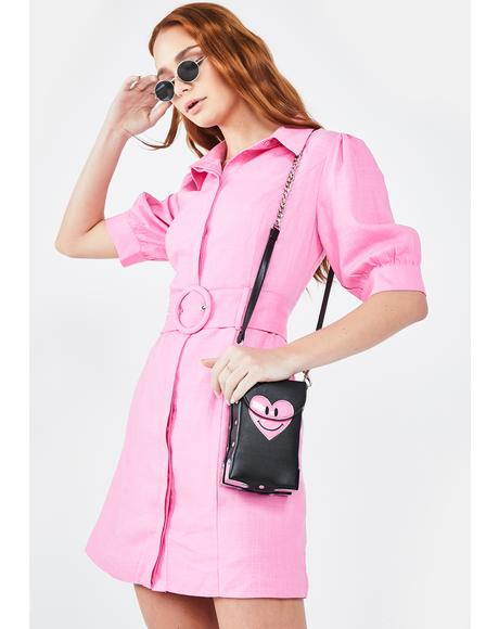 Hot Pink Belted Shirt Dress