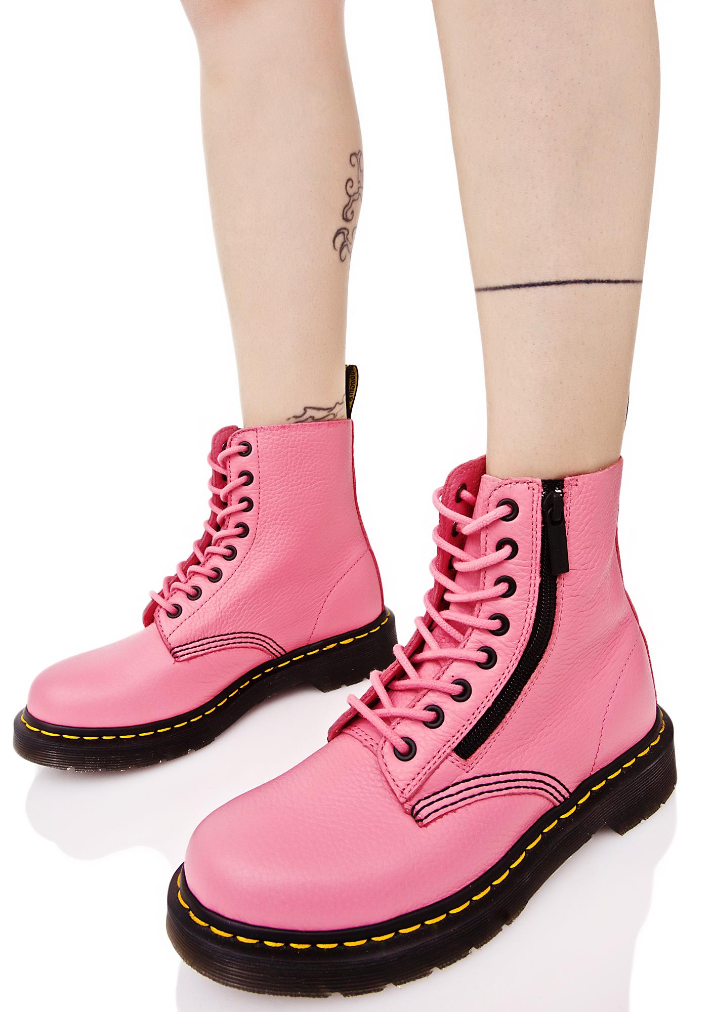 Dr. Martens Pink Zippered Pascal 8 Eye Boots  ce75217499ae