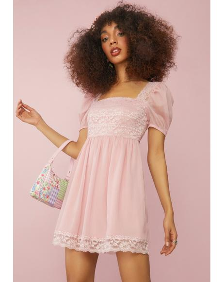 Rose Honeydew Pucker Babydoll Dress