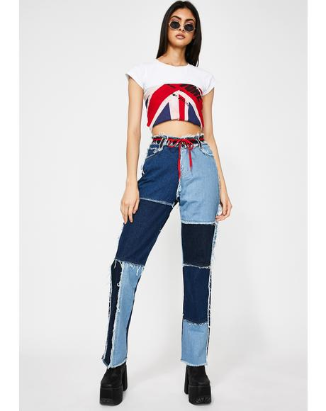 Patchwork Denim Boyfriend Jeans