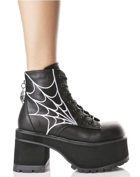 In Your Spiderwebz Platform Boots