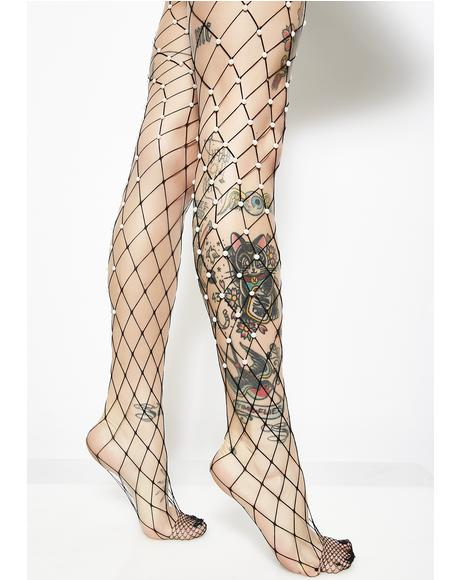 Pearl Of My Eye Fishnet Tights