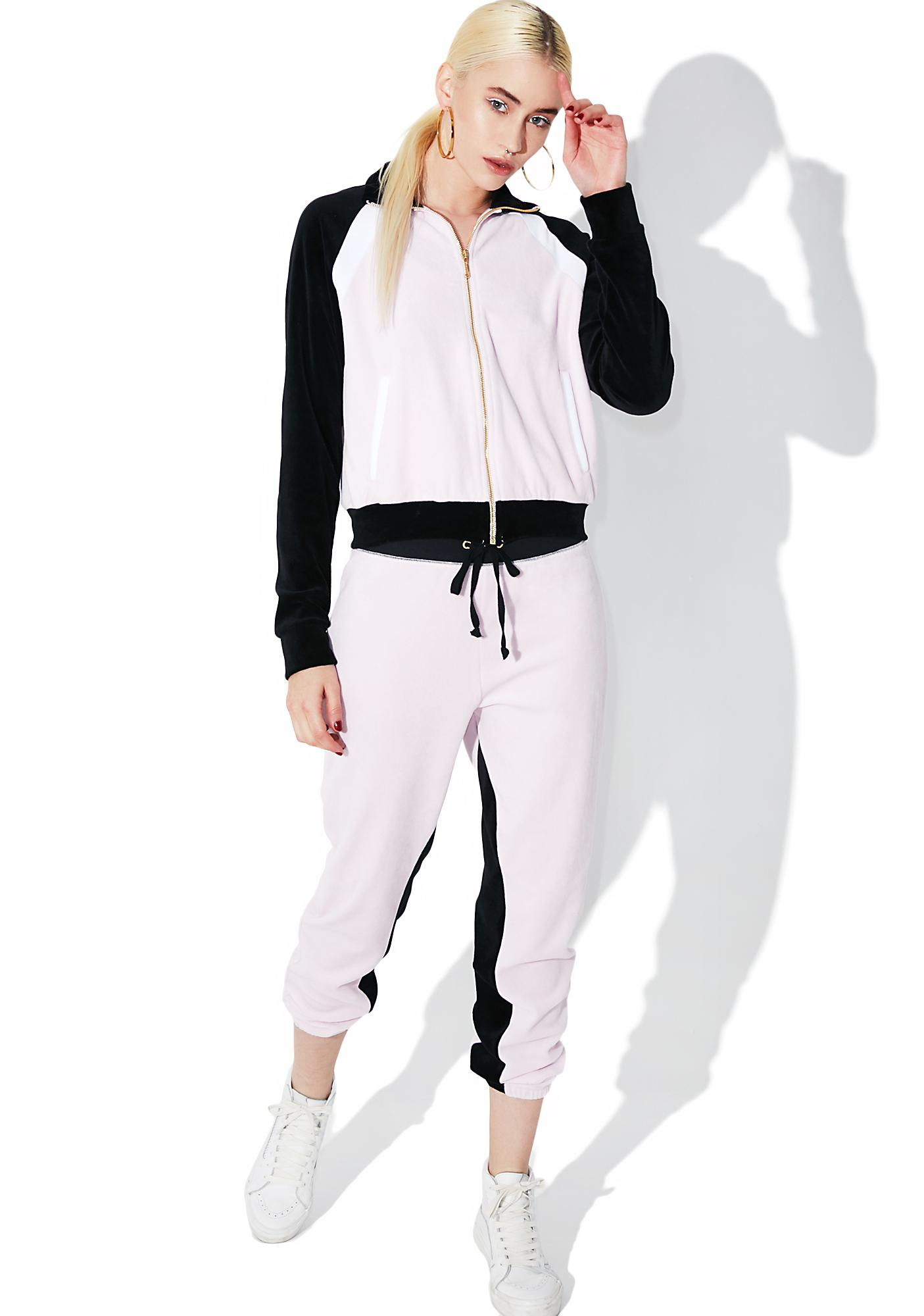 JUICY COUTURE Velour Color Blocked Silverlake Joggers