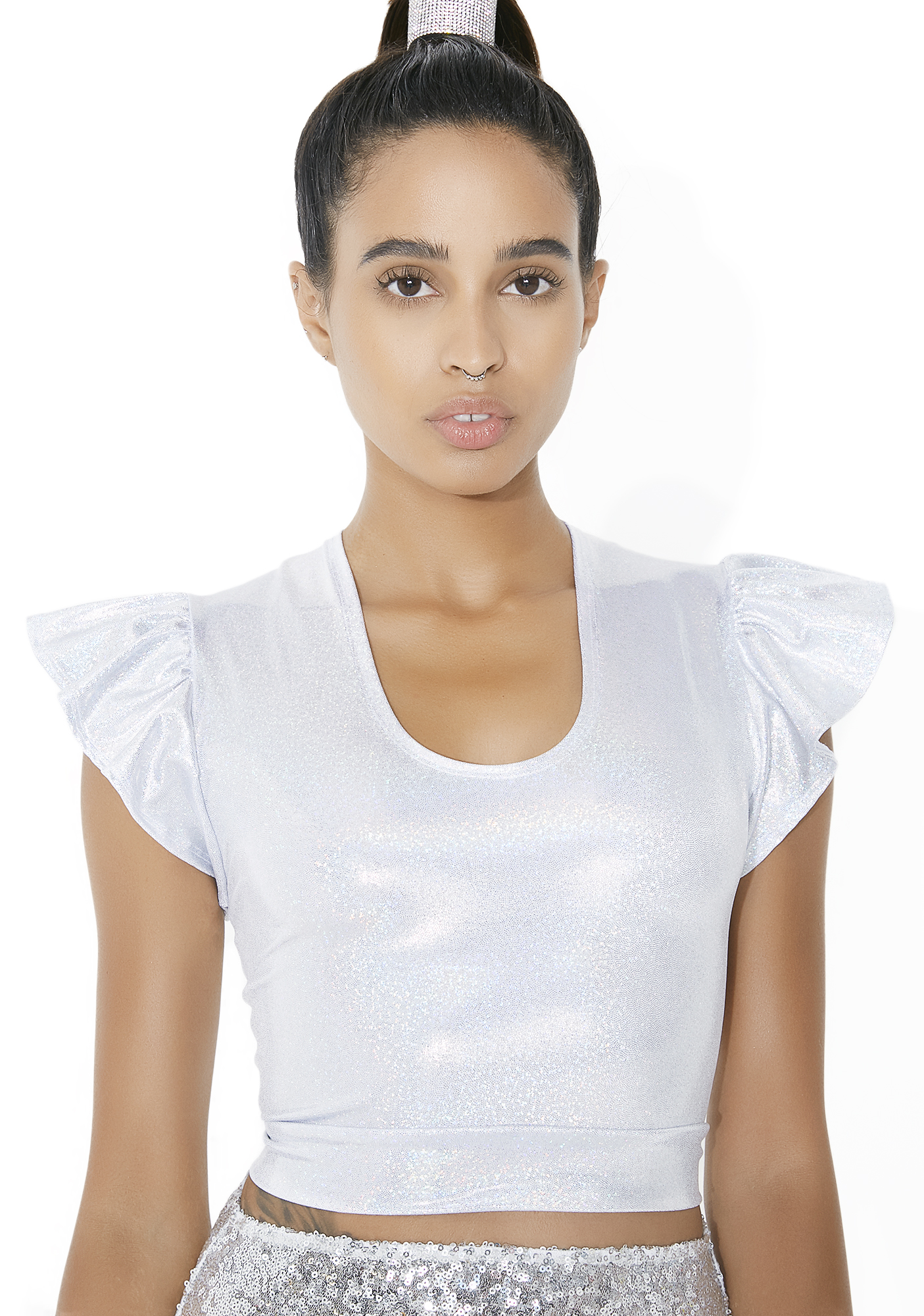 Flirty Flutter Holographic Crop Top