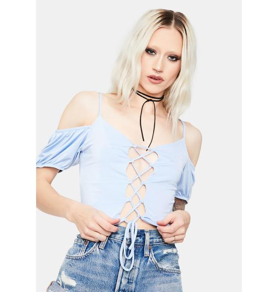 Periwinkle Falling For You Lace-Up Crop Top