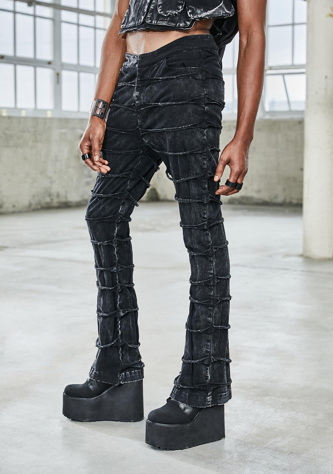 DARKER WAVS Bassline Distressed Patchwork Pants