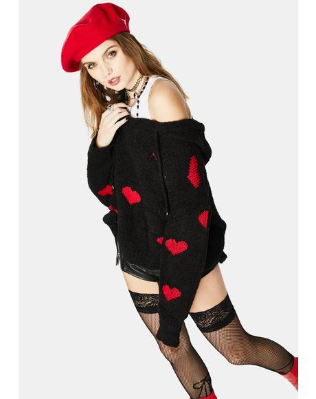Noir Have My Heart Knit Sweater