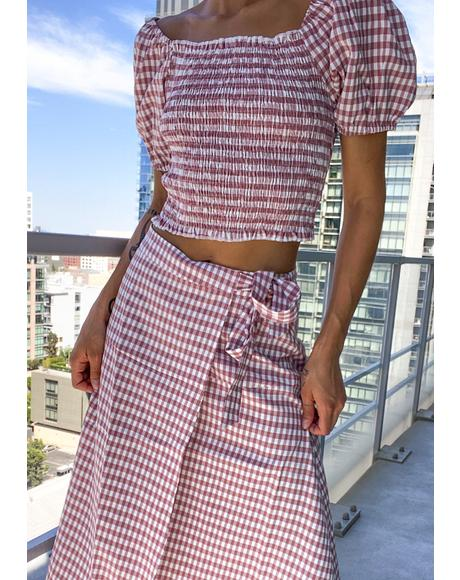 Hot Prairie Romance Gingham Skirt