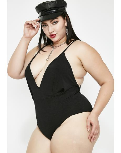 Midnight Grand Entrance Deep V Bodysuit