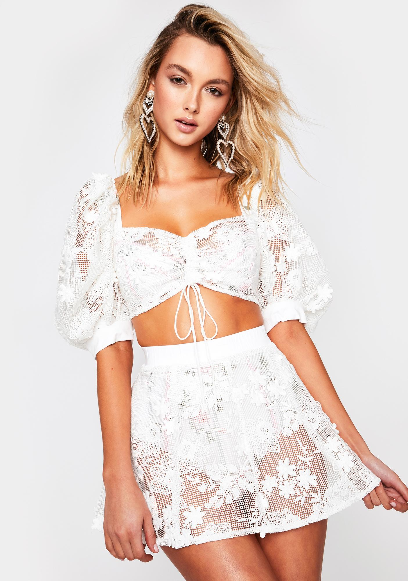 For Love & Lemons Crochet Daisy Skater Skirt